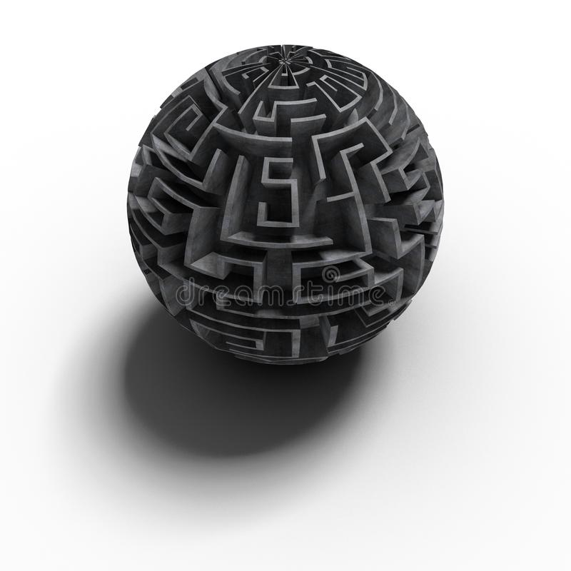 3D spherical labyrinth - large vector illustration