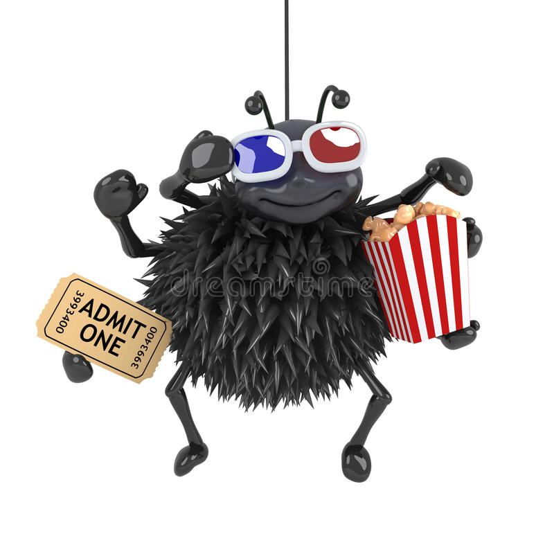 Free 3d Spider Is Watching A 3d Movie Stock Photography - 54877392