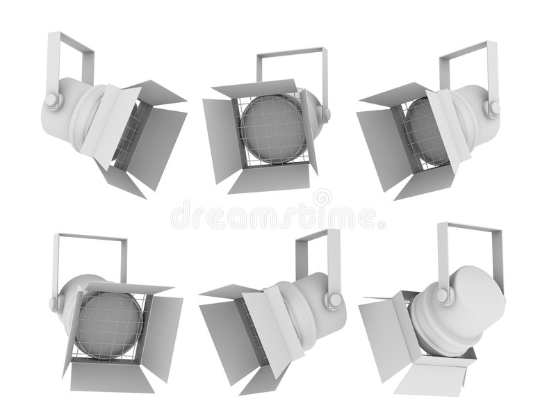 3d spotlight. Set of images of spotlights from the different points of view