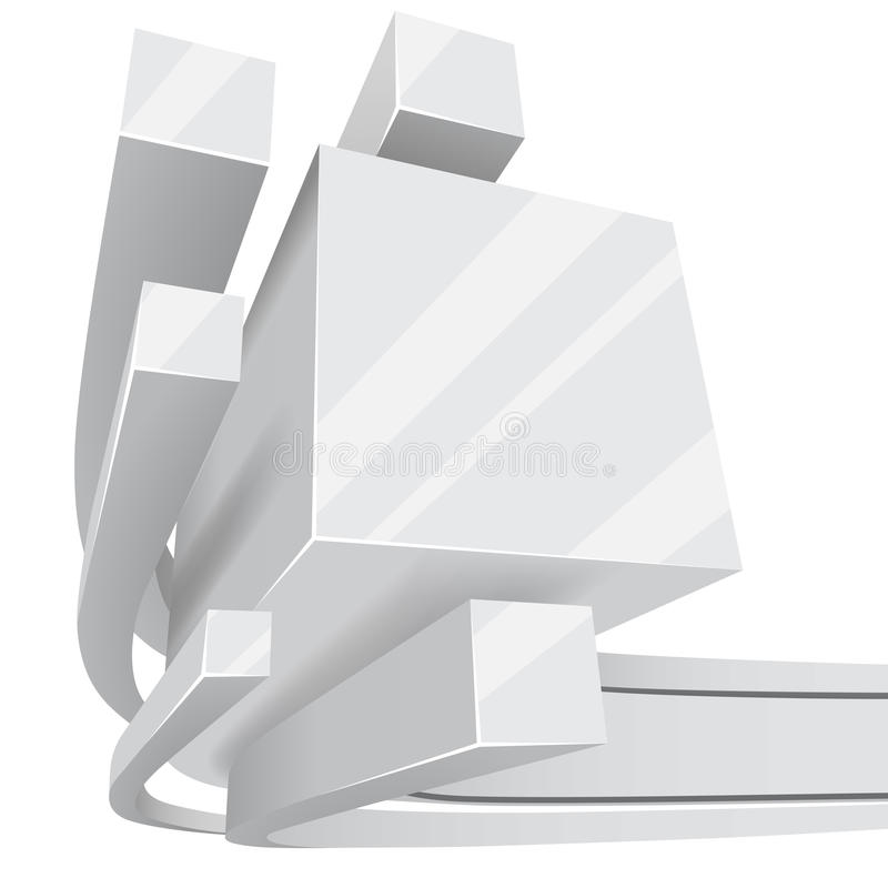 3D square rails background. Abstract white 3D square rails background with copy space royalty free illustration