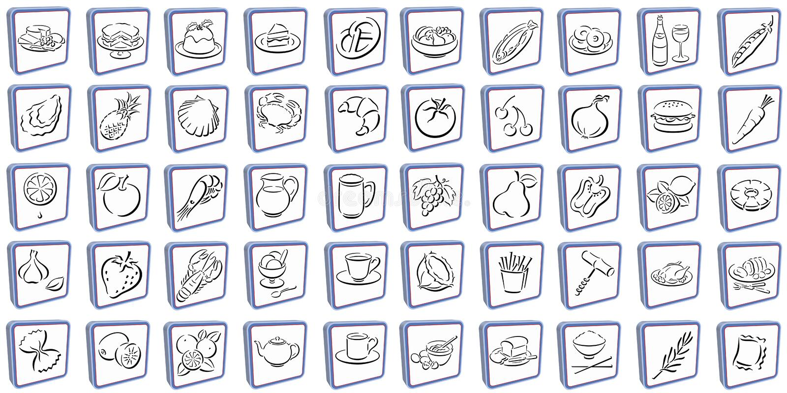 3D-Squares with food symbols stock photo