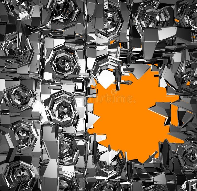 3d srebra chrom wybuchający system ilustracja wektor