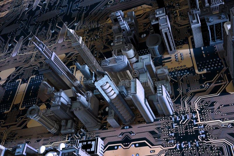 3D stad op kringsraad stock illustratie
