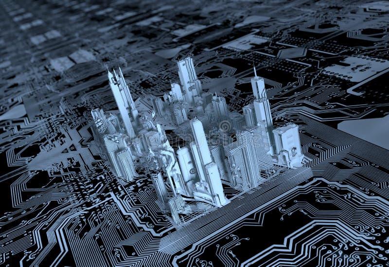 3D stadschip stock illustratie