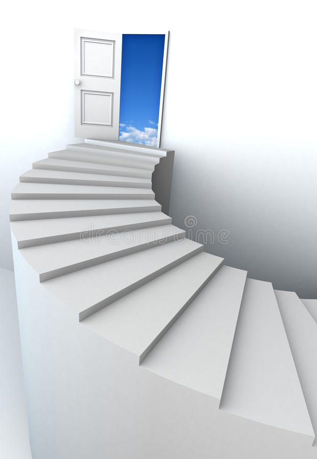 3D Stairs Up To Clean Sky With Clipping Path Stock Image