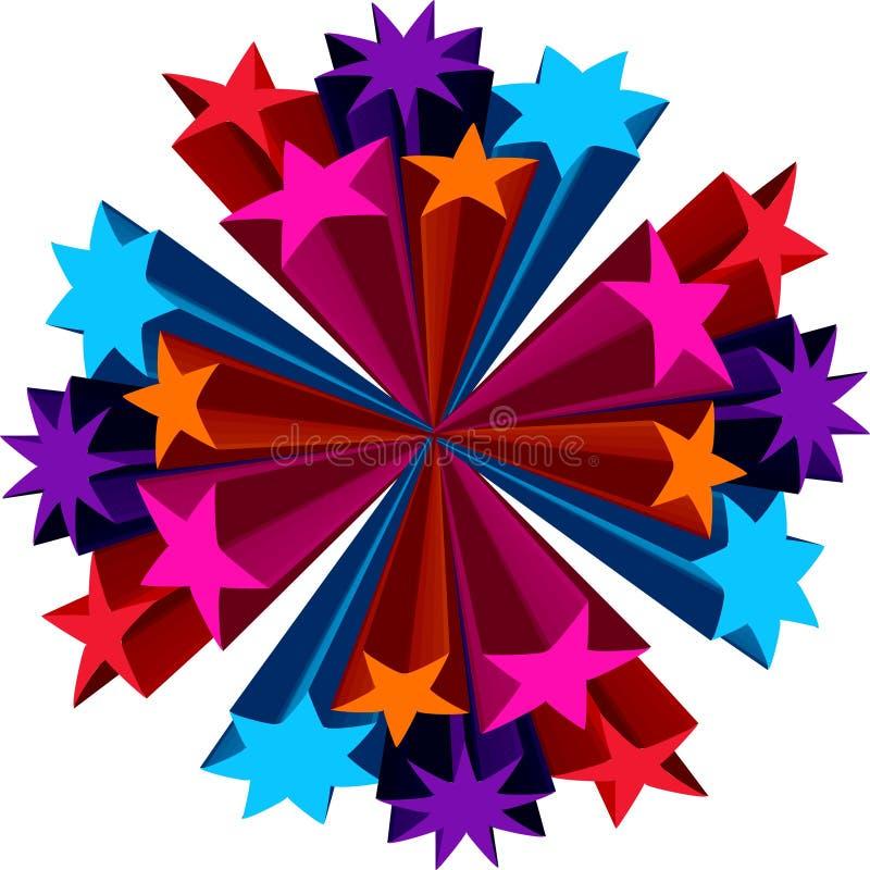 3d Stars il mazzo dei fiori illustrazione vettoriale