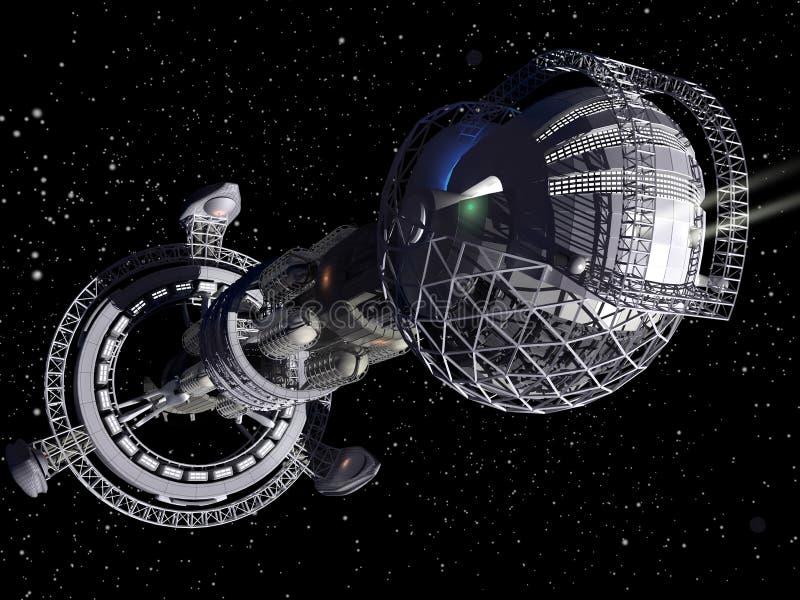3d statek futurystyczna wzorcowa przestrzeń ilustracja wektor