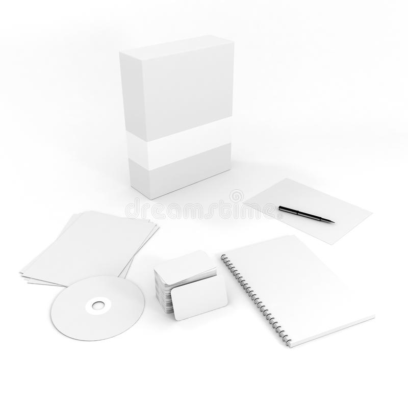 3d stationery blank documents royalty free stock images