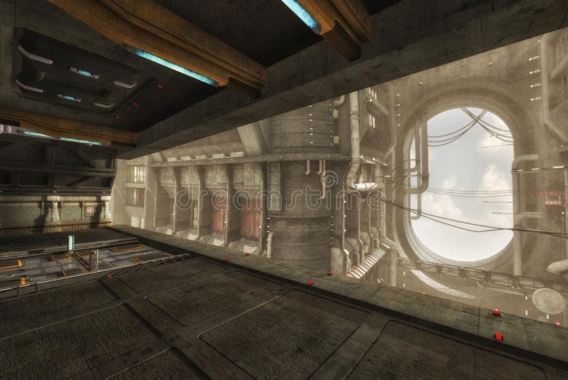 3D statku wnętrze fotografia royalty free