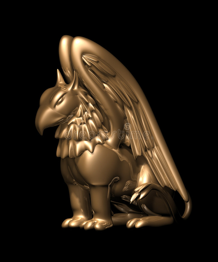 3d statue griffin from gold stock photo