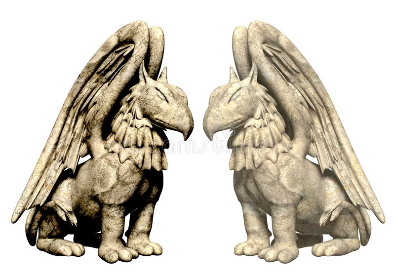 3d statues griffin from stone vector illustration