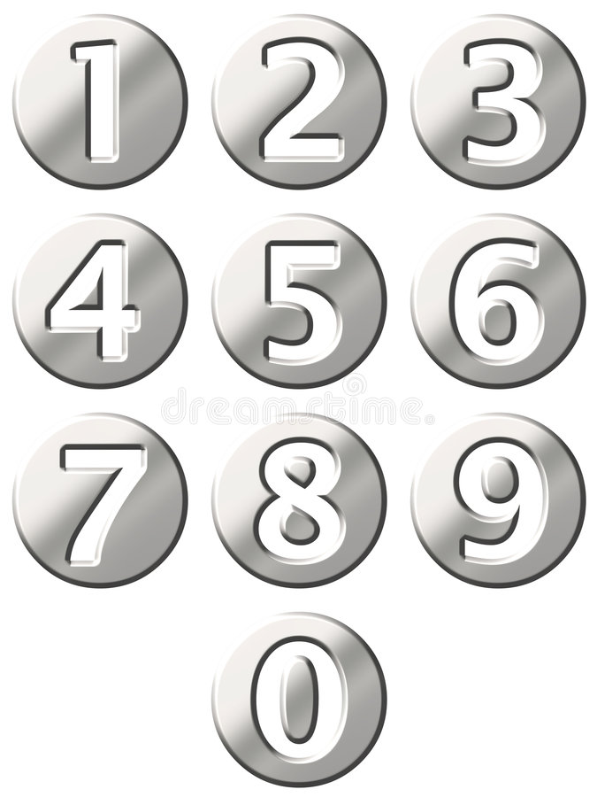3D Steel Framed Numbers Stock Images
