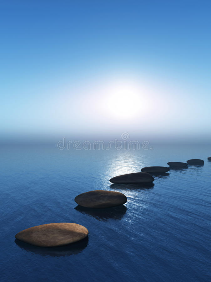 Free 3D Stepping Stones In The Ocean Royalty Free Stock Photos - 87120948