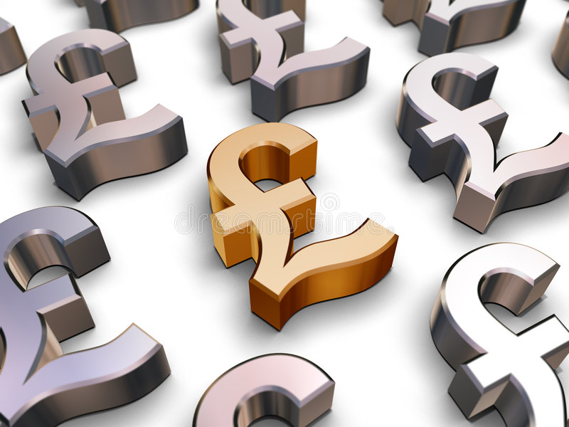 3D Sterling Pound symbols. A single golden Sterling Pound symbol surrounded by many chrome-plated British Pound symbols (3D rendering