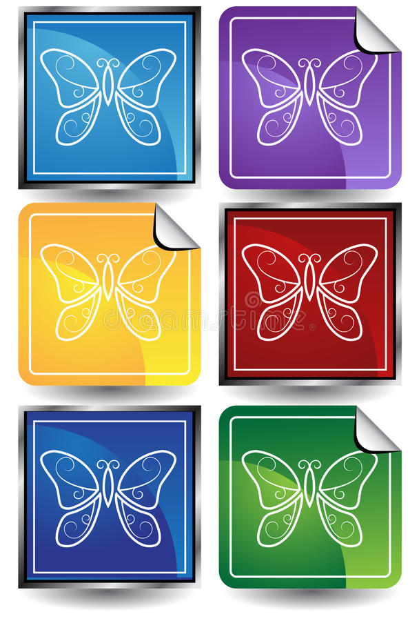 Download 3D Sticker Set - Butterflies Stock Vector - Image: 10193204