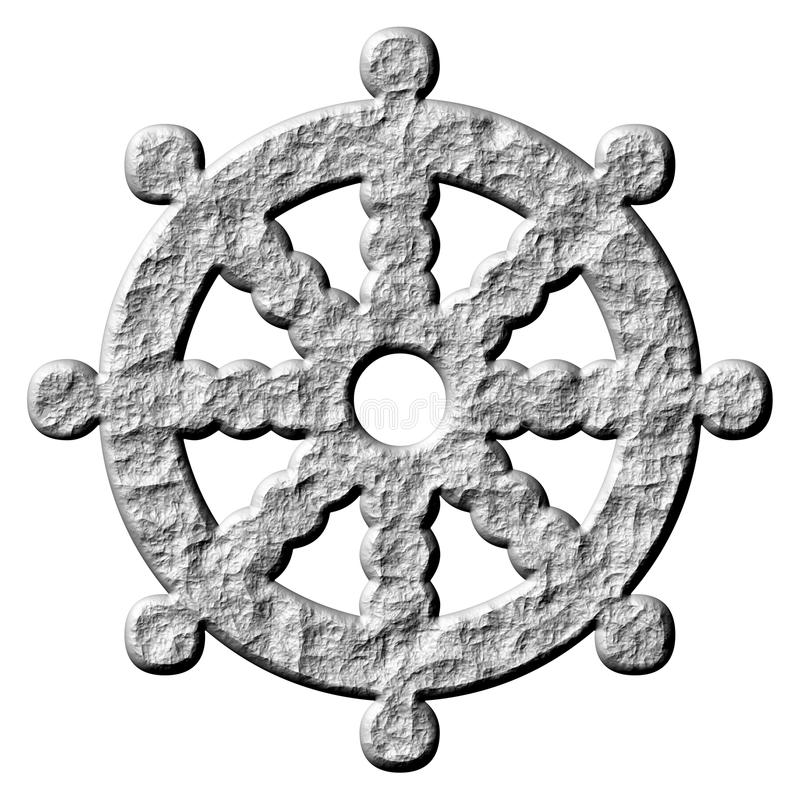 3D Stone Buddhism Symbol Wheel of Dharma royalty free illustration