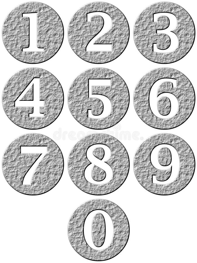 Download 3D Stone Framed Numbers stock illustration. Image of carved - 9364629