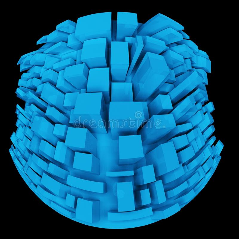 3d Strange Distorted Abstract City, Little Planet. In Fish Eye stock illustration