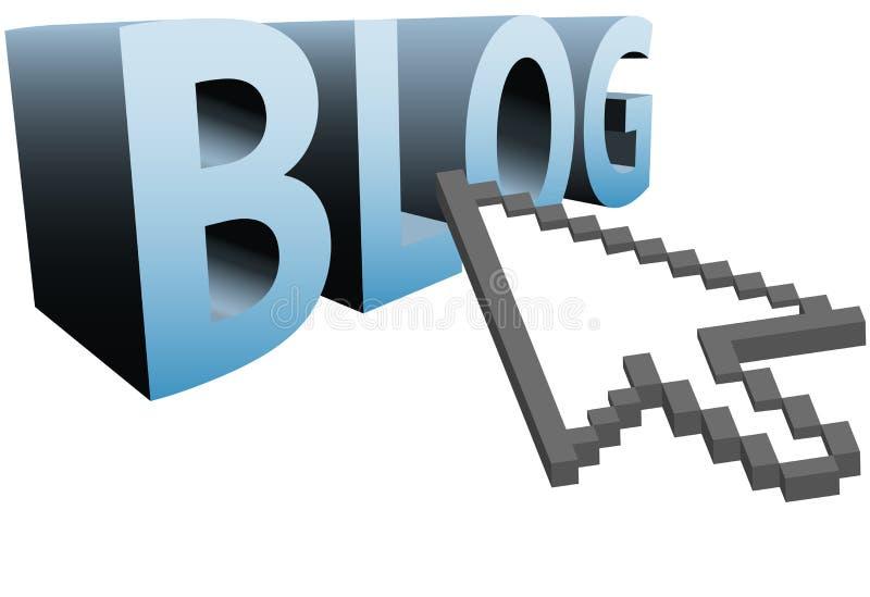 3d strzałkowaty duży blog klika kursoru piksel target288_0_ ilustracji