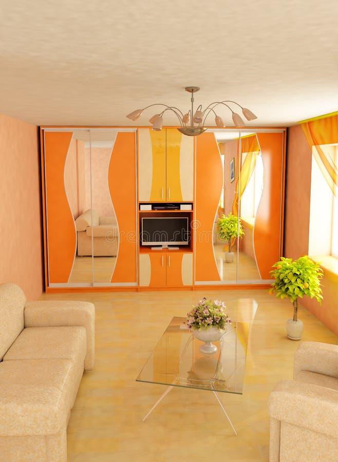 3d stwarzać ognisko domowe wnętrze nowożytnego ilustracja wektor