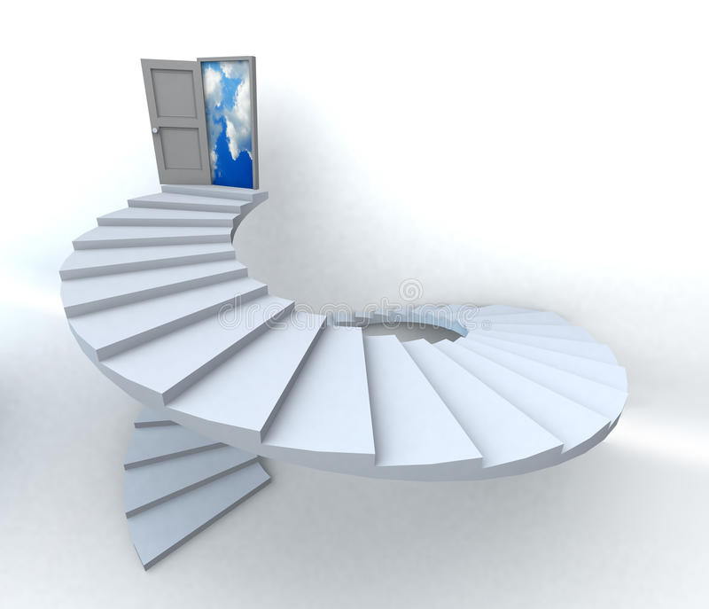 3D Success business spiral staircase stock image