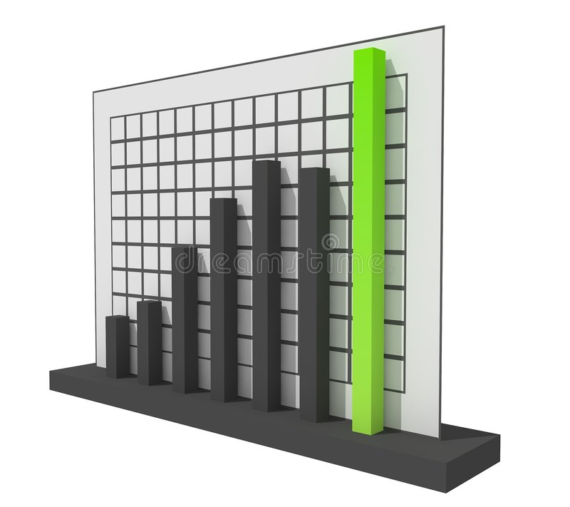3d Success Chart. 3d Black and Green Success Chart stock illustration