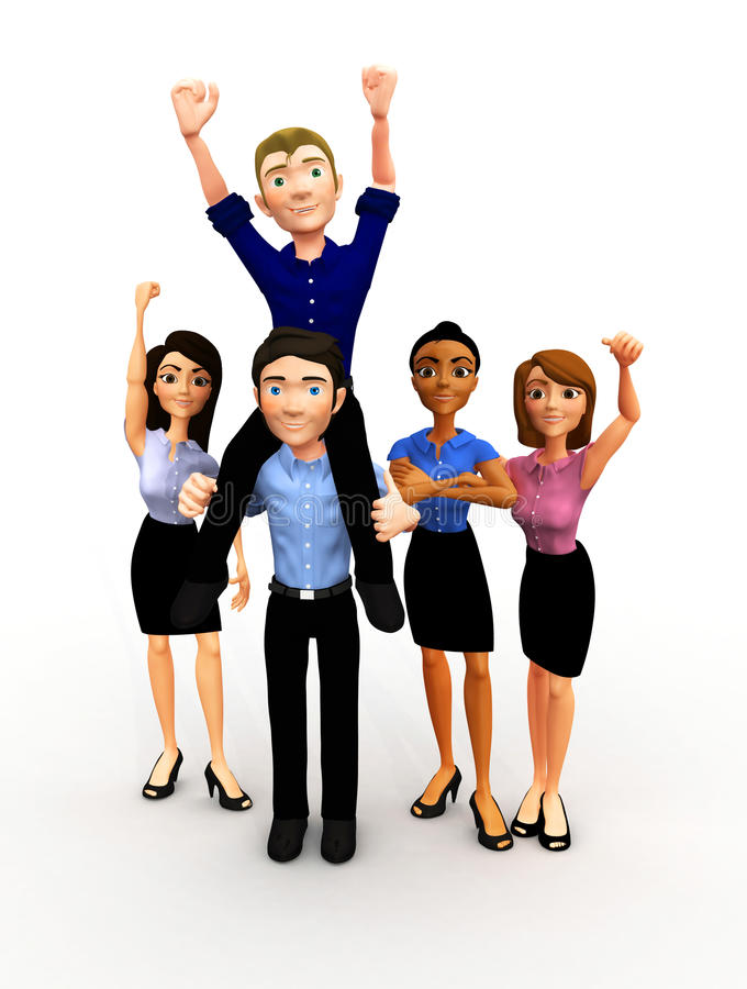 Download 3D Successful Business Group Stock Illustration - Illustration of cartoons, excited: 21669453