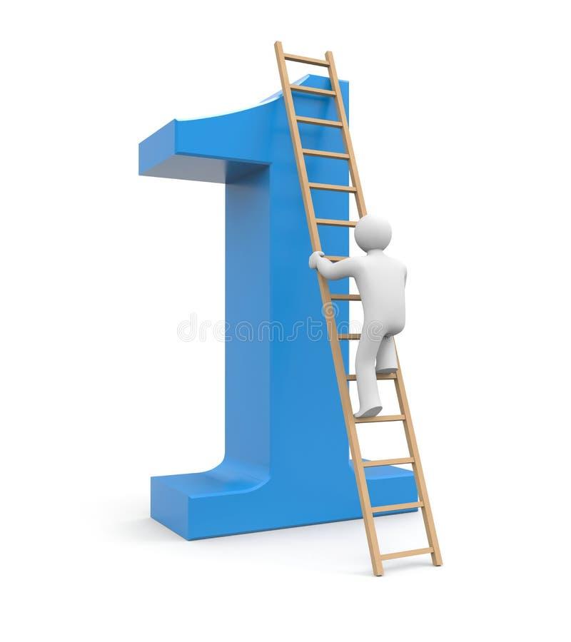 3d sukces biały człowiek wspinaczka ilustracja wektor