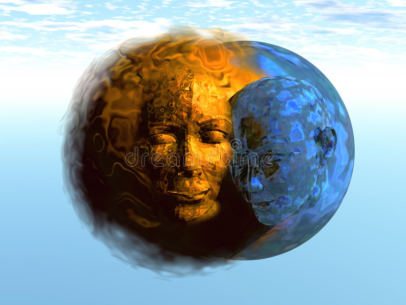 3D Sun und Mond stock abbildung