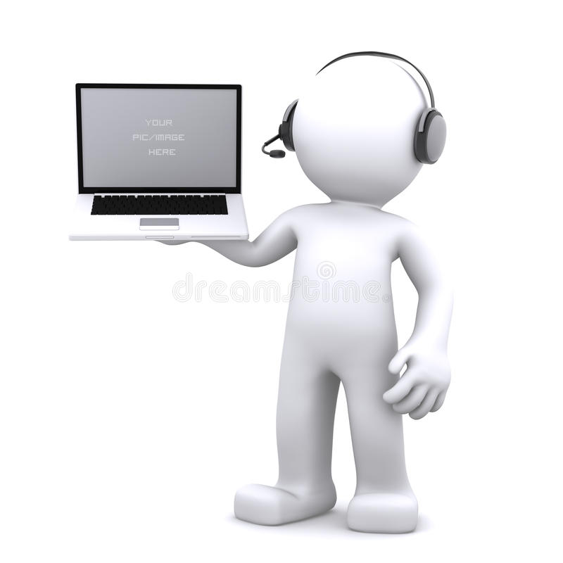 3d Support phone operator in headset. Rendered on white background royalty free illustration