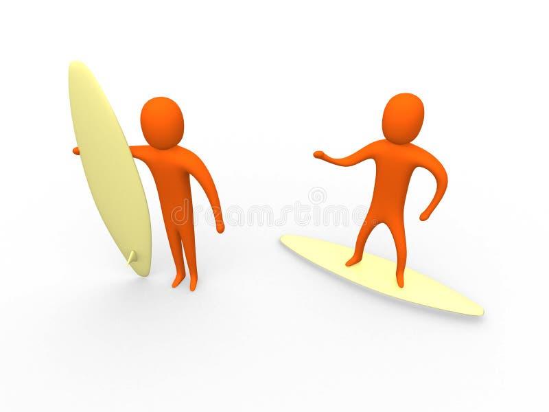 3d surfisti #1 illustrazione vettoriale