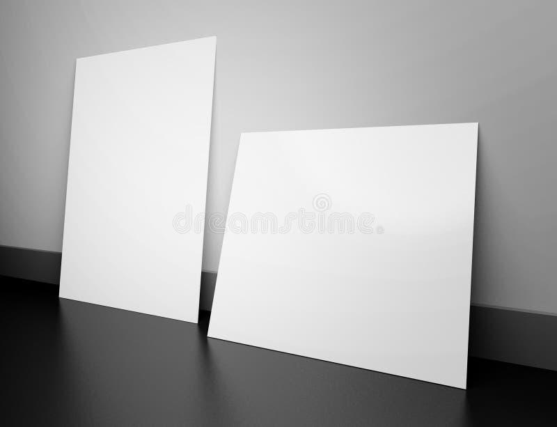 3d svuotano i blocchi per grafici nell'interiore illustrazione vettoriale