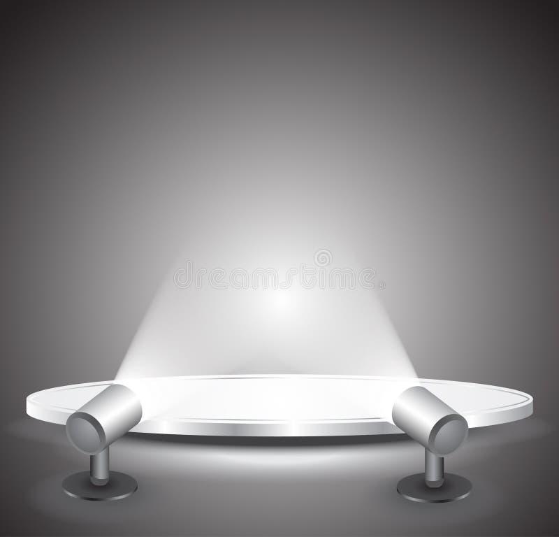 3d svuotano il podio bianco con indicatore luminoso royalty illustrazione gratis