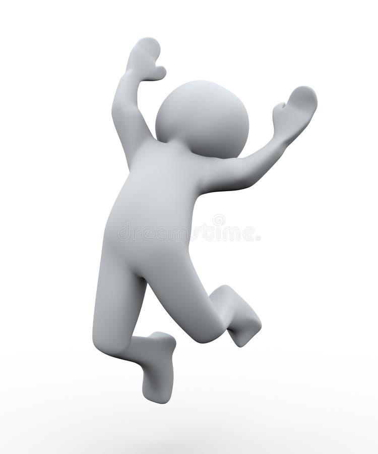 3d szczęśliwy osoba skok ilustracja wektor