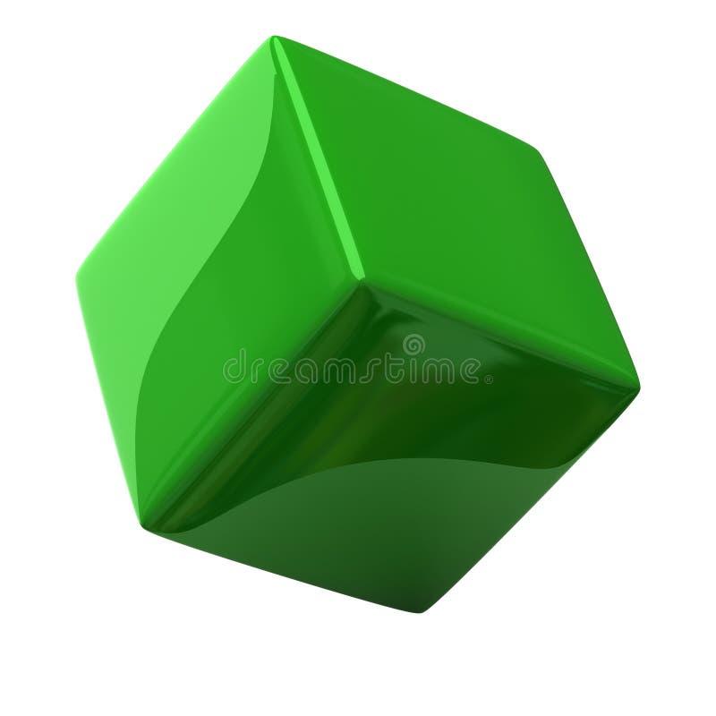 3d sześcian zieleń ilustracji