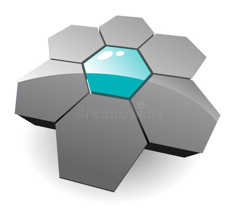 3d sześciokąta logo