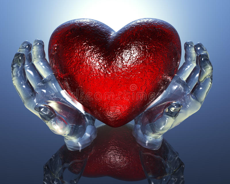3d szkło wręcza serce royalty ilustracja