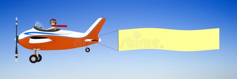 3d sztandaru mężczyzna samolotu ciągnięcie ilustracja wektor