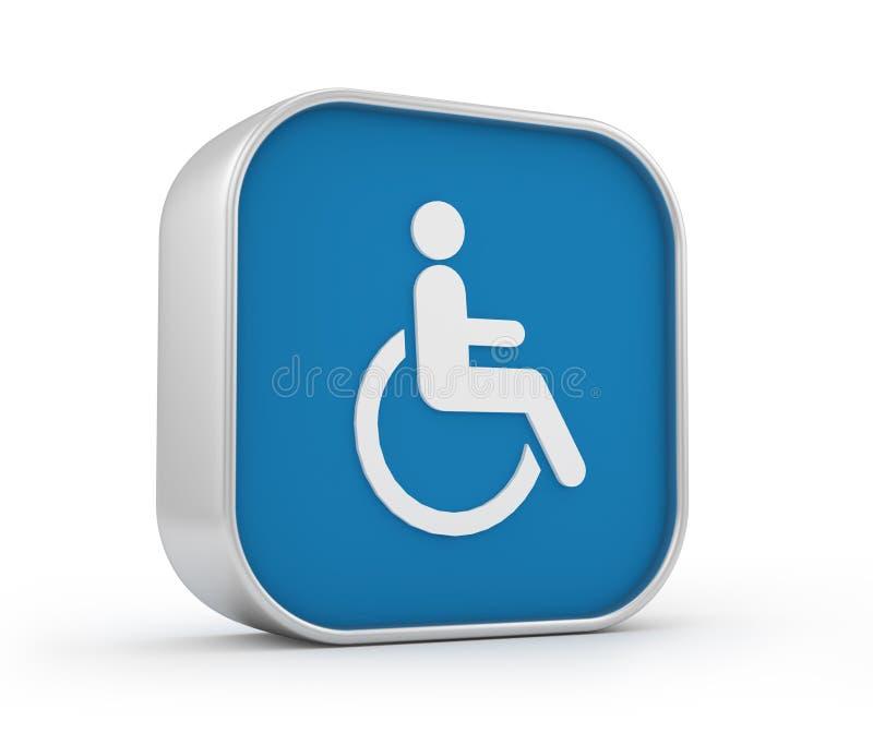 3d szyldowy wózek inwalidzki royalty ilustracja