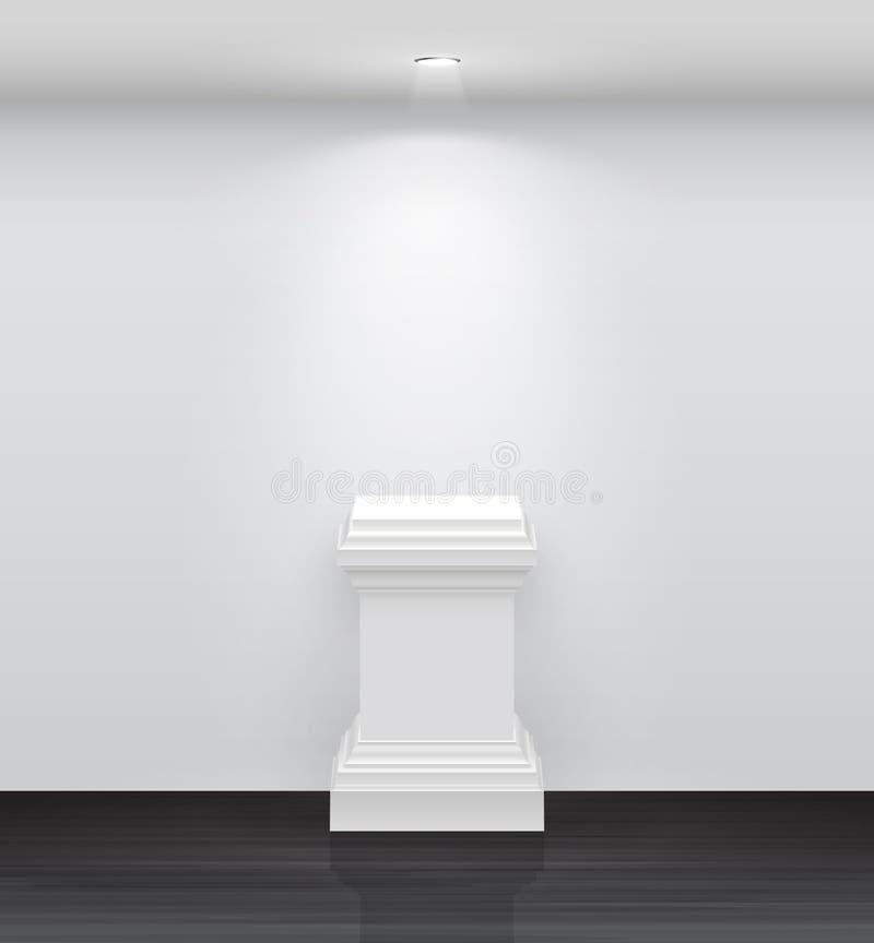 3d tömmer din utställningsstandwhite stock illustrationer
