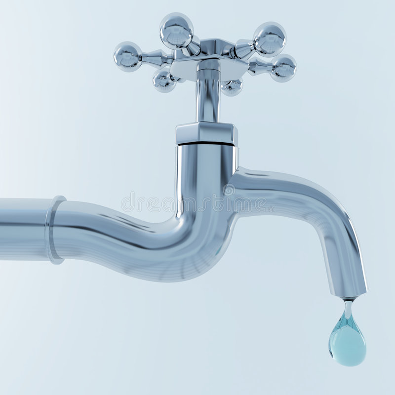 3d tap with drop of water stock illustration