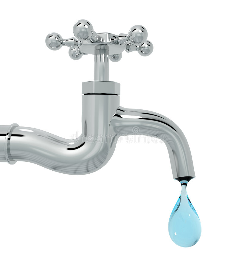3d tap with drop of water isolated royalty free illustration