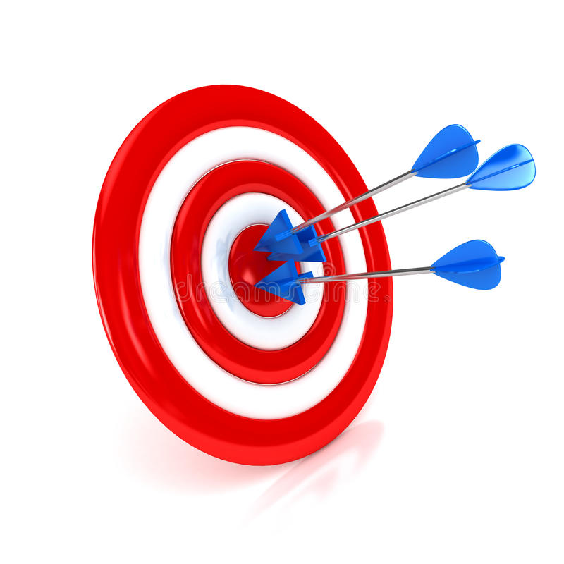 3d target with arrows over white background royalty free illustration