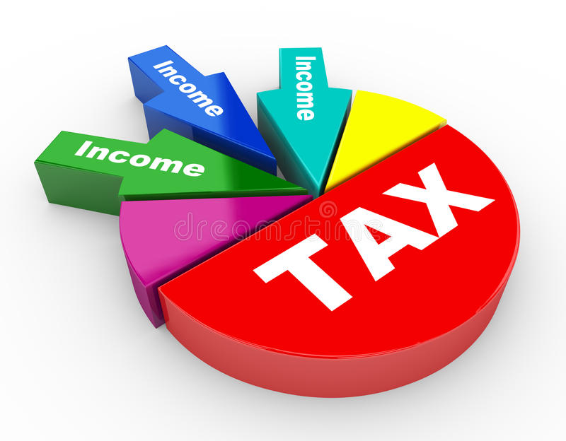 3d tax and revenue pie chart stock illustration