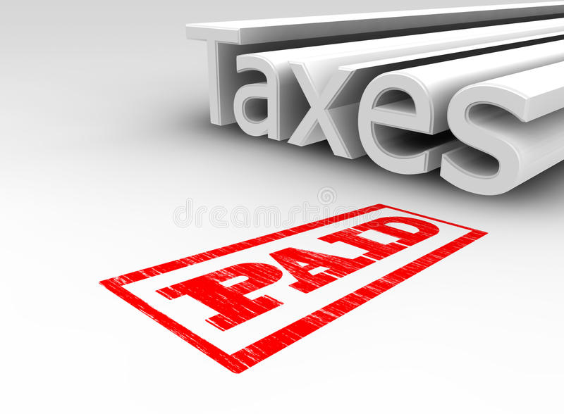 3D Taxes Paid vector illustration