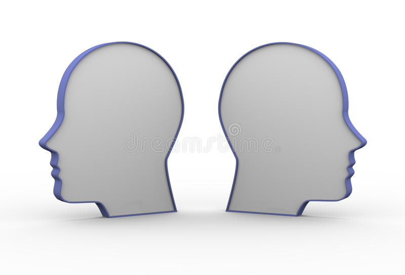 3d tegenover menselijke hoofden vector illustratie