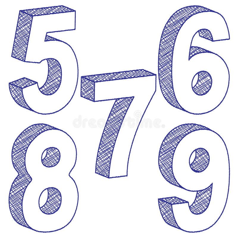 3D tekening nummer 5-9 vector illustratie