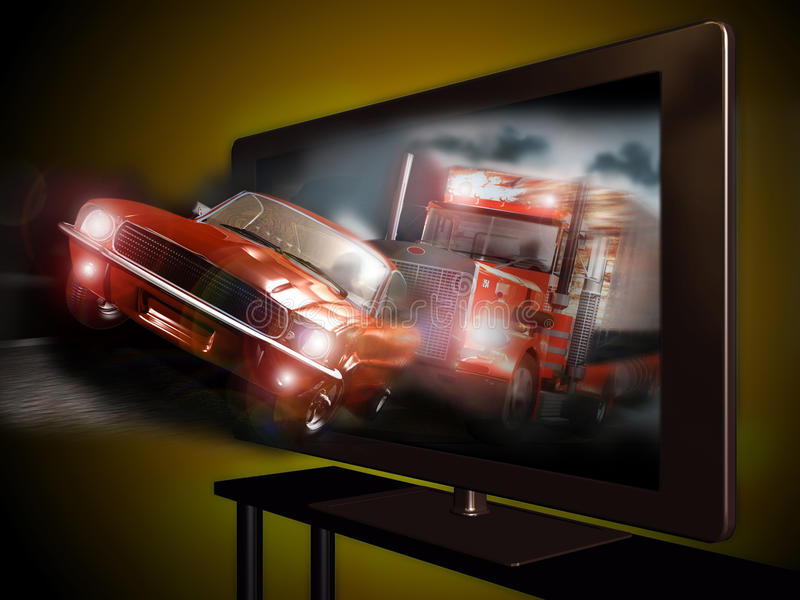 3D and 4k television. A 3D led television with an image of a pursuit between a car and a truck coming out of the screen