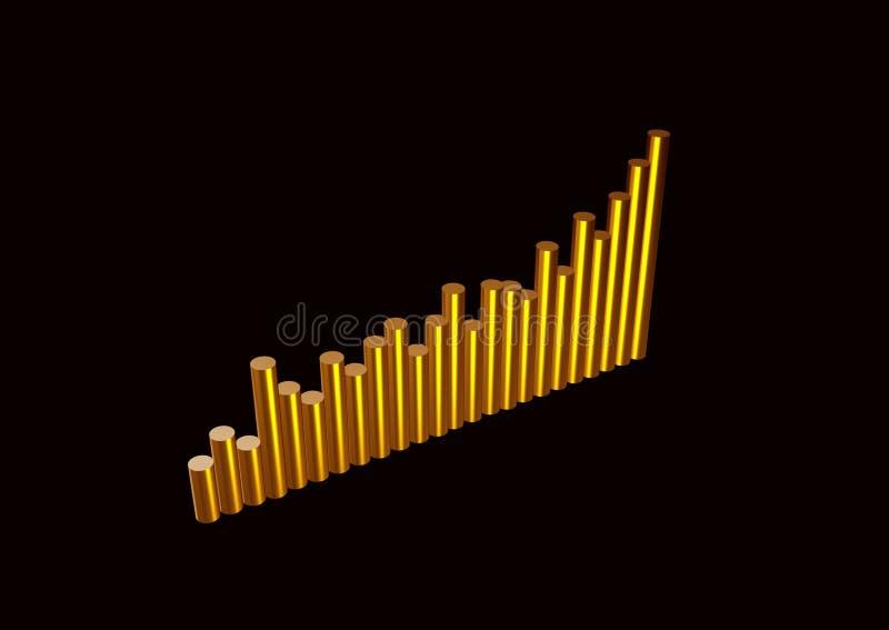 3D - tendência dourada acima ilustração royalty free
