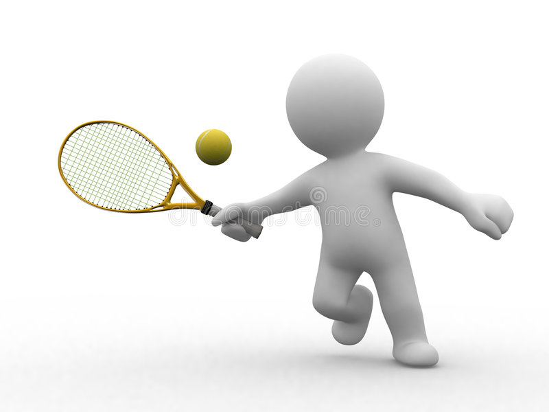 3d tennis people vector illustration